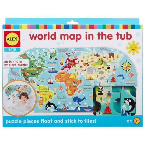 World Map In The Tub 30 Pc Foam Puzzle Educational Toys