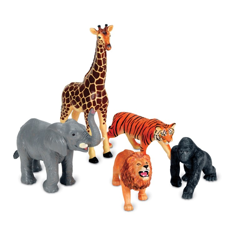 Jumbo Jungle Animals 5 Pc Safari Animals Playset Educational Toys