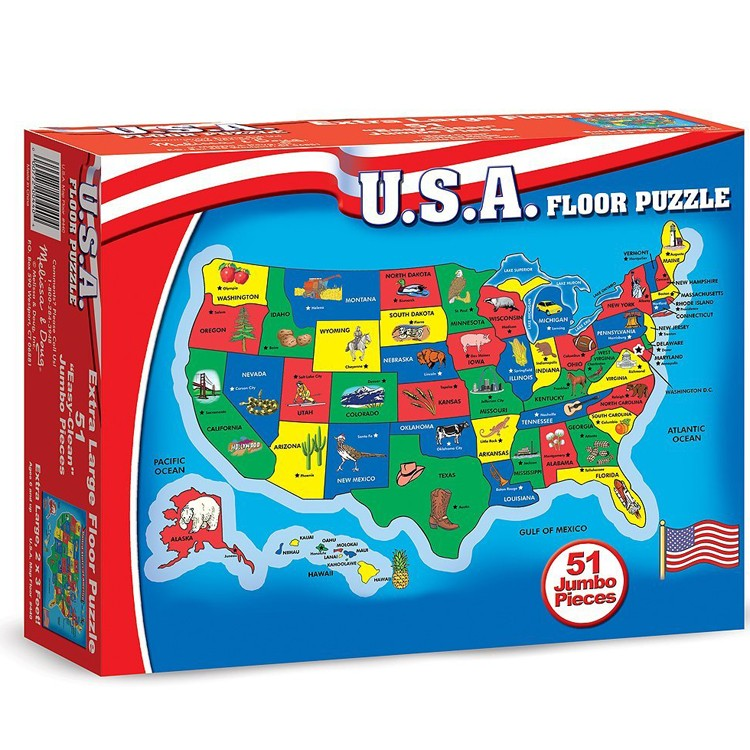 United States Map Puzzles.Usa Map 51 Pc Floor Puzzle Educational Toys Planet