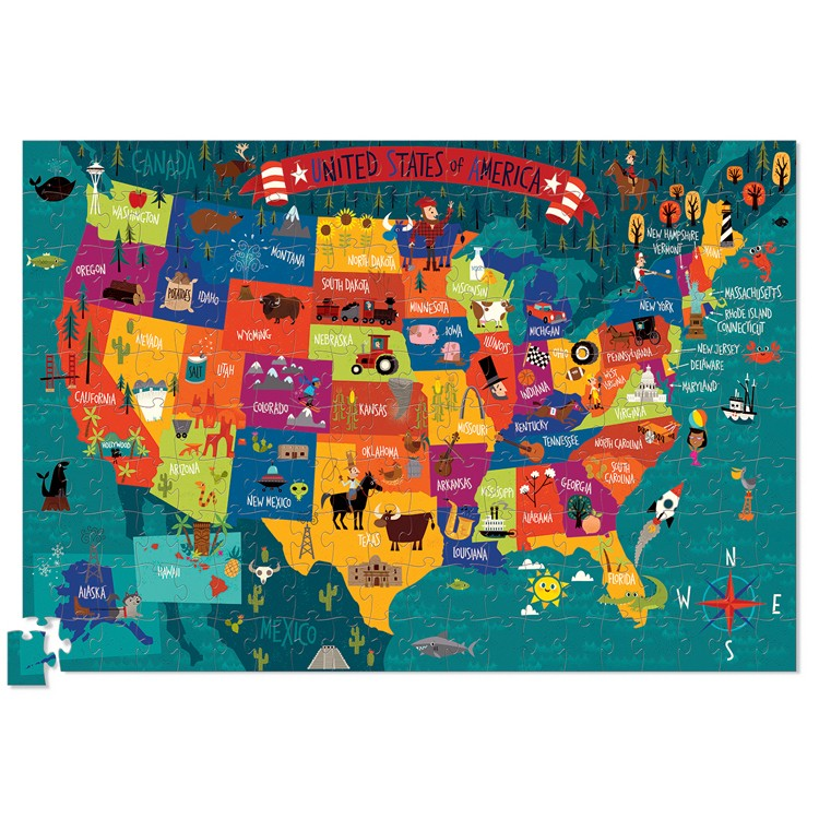 Usa Map 200 Pc Jigsaw Puzzle And Poster Set Educational Toys - Us-map-poster