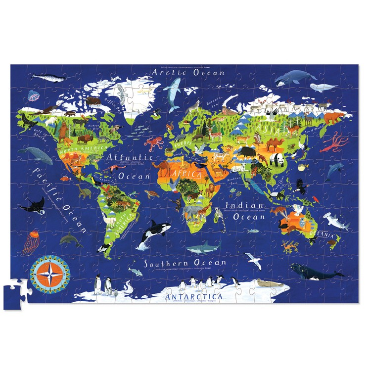 World Map 200 pc Jigsaw Puzzle and Poster Set - Educational Toys ...