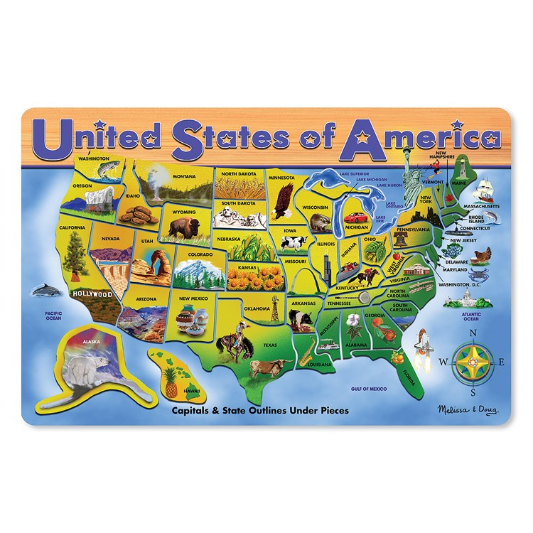 Usa Map Large Wooden Puzzle Educational Toys Planet - Large-map-of-us-states