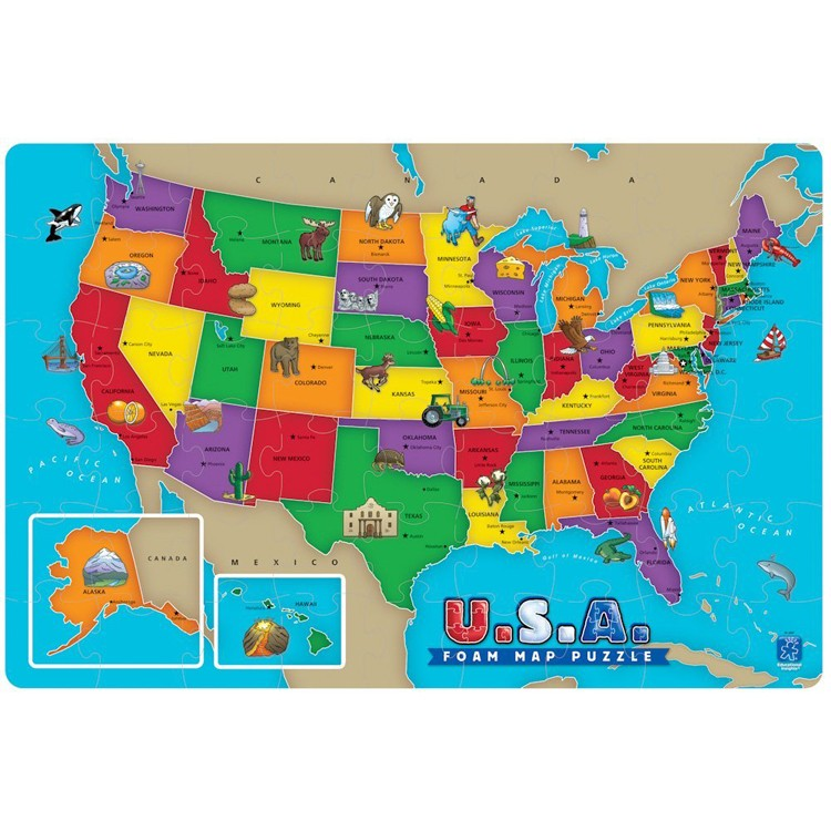 USA Map Foam Puzzle - Educational Toys Planet