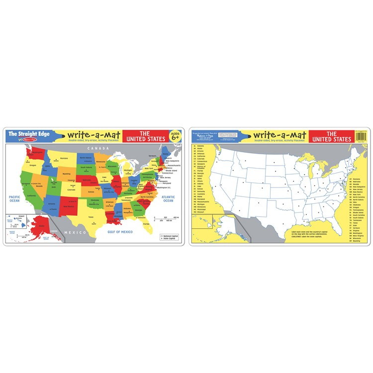 Usa Map Learning Placemat Educational Toys Planet
