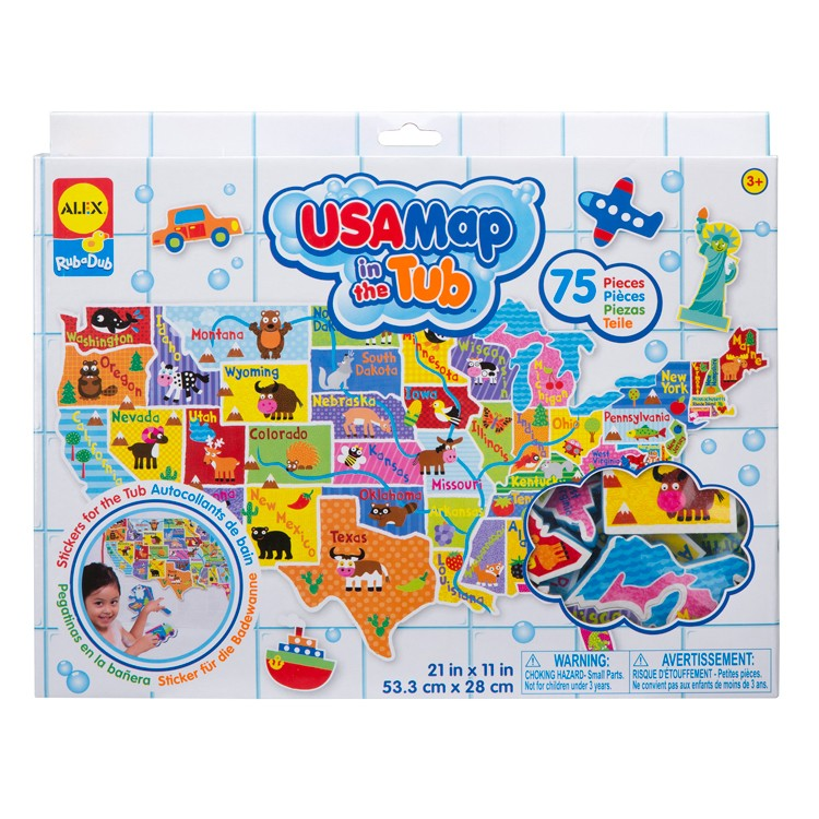 Usa Map In The Tub 75 Pc Foam Puzzle Educational Toys Planet