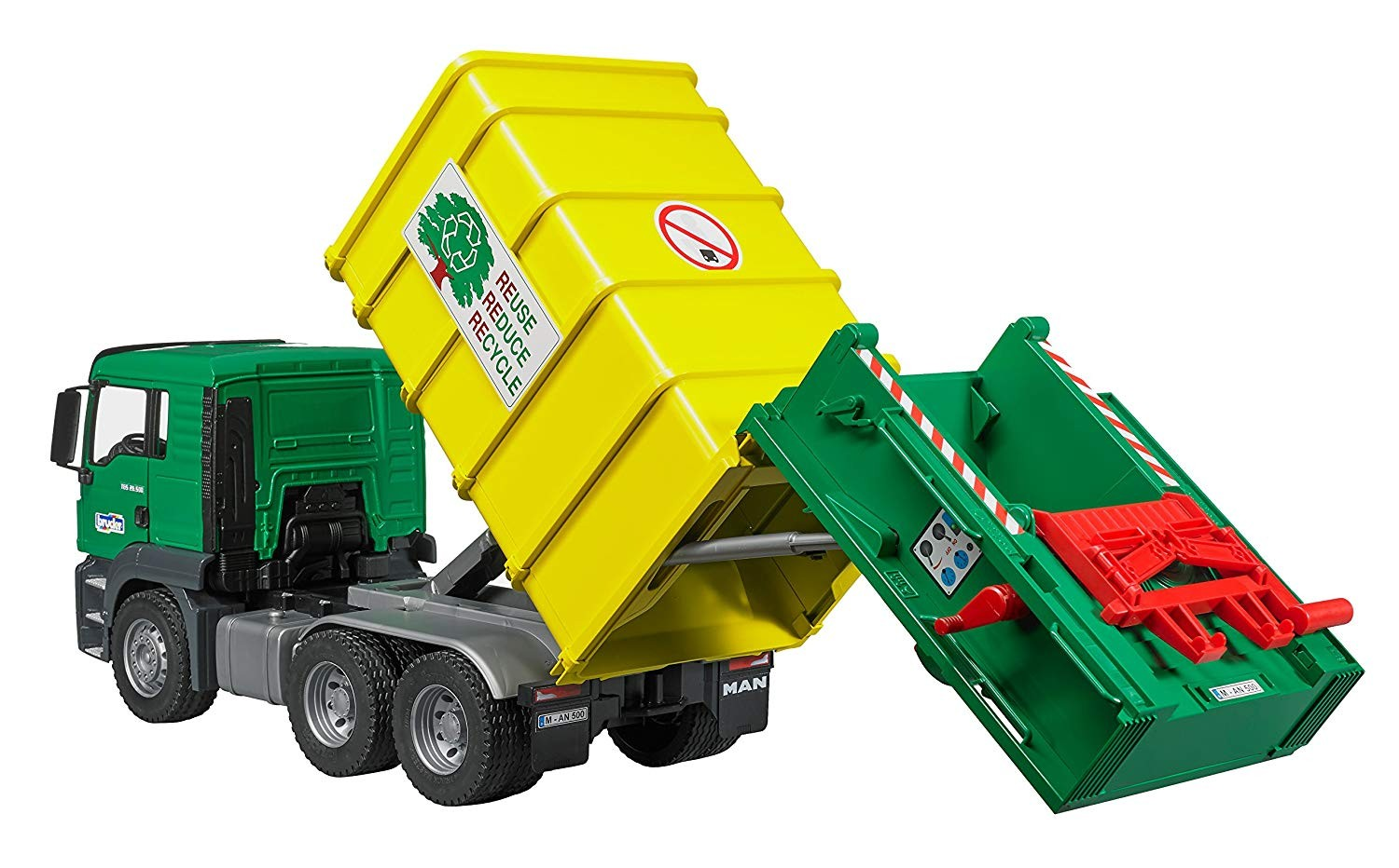 Bruder Man Tgs Rear Loading Garbage Truck Green Amp Yellow