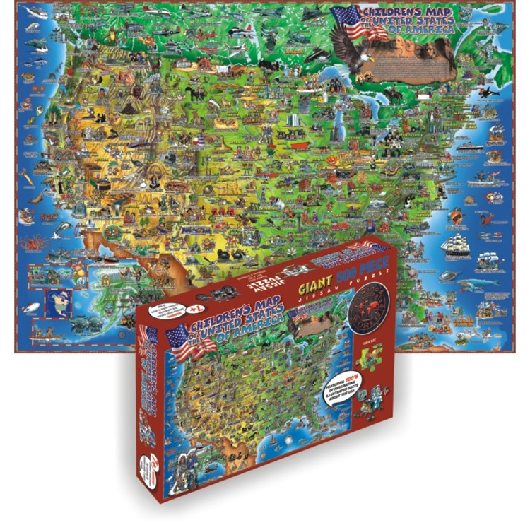 Usa Map 500 Pc Illustrated Floor Puzzle Educational Toys Planet - Us-map-jigsaw-puzzle