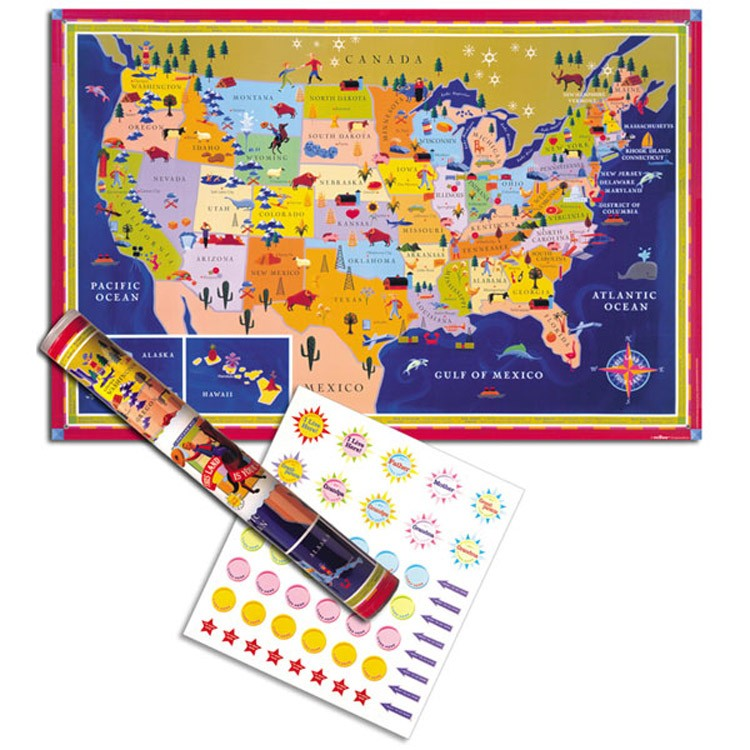 Kids Usa Map.Usa Map Wall Poster For Kids Educational Toys Planet