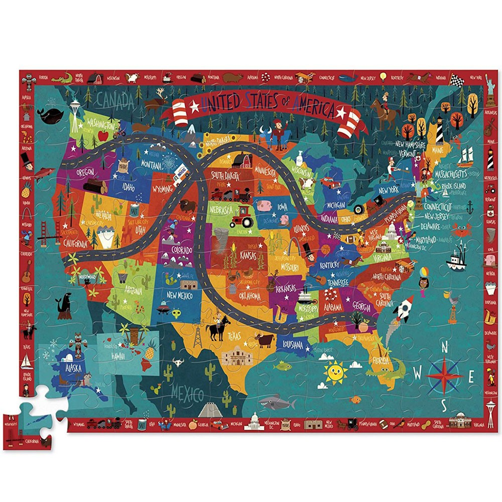 Discover America 100 Us Map Puzzle Play Set Educational Toys Planet - Map-of-us-puzzle