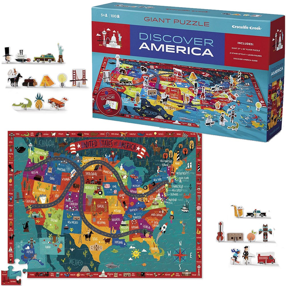Discover America 100 Us Map Puzzle Play Set Educational Toys Planet - Puzzle-us-map