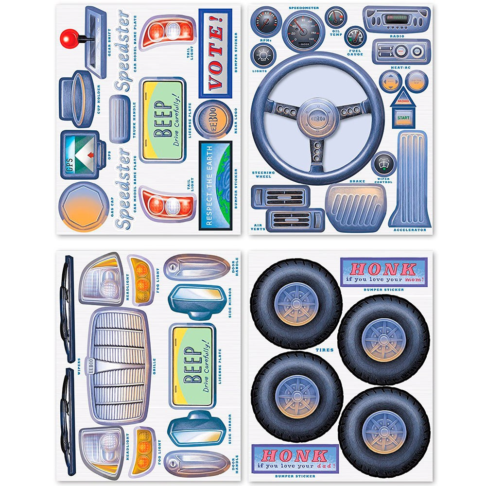 Car Pretend Play Reusable Stickers Set Educational Toys Planet