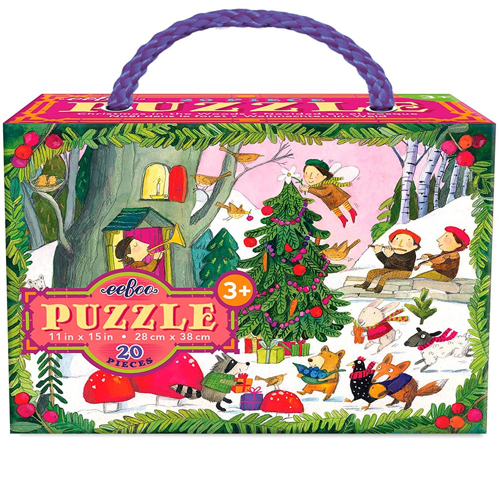 Christmas In The Woods.Christmas In The Woods 20 Pc Glitter Puzzle Educational
