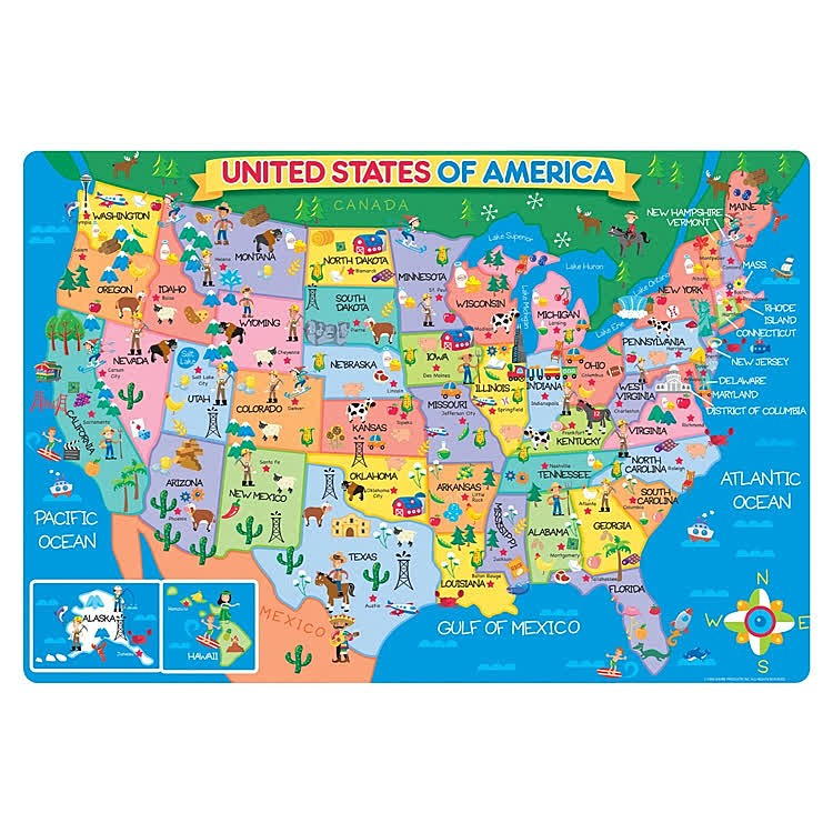 Us Map 24 Pc Giant Floor Puzzle Educational Toys Planet - Us-map-with-landmarks