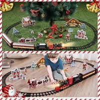 Classic Railway Train Set w/ Steam Locomotive Engine, Cargo Car and Tracks