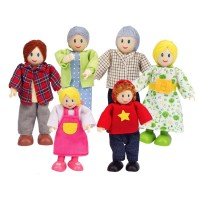 Happy Family 6 pc Wooden Toy Figures - Caucasian