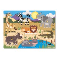 Safari Animals Peg Wooden Puzzle