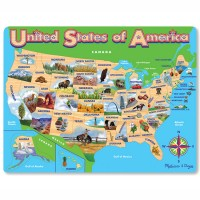 USA Map 45 pc Illustrated Wooden Puzzle