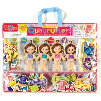 Teeny Tiny Quadruplets 4 Magnetic Dolls Dress-up Set