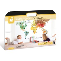 Magnetic Wall Stickers Set - Janod - World Map MagnetiStick