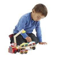 Magnetic Car Loader Wooden Toy Vehicles 6 pc Set