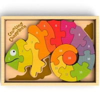 Counting Chameleon Bilingual English Spanish Number Wooden Puzzle