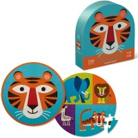 Tiger Friends 24 pc Double-Sided Circular Floor Puzzle in Shaped Box