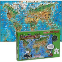 Animal Map of the World 300 pc Illustrated Puzzle