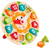 Chunky Clock Shapes Wooden Puzzle