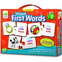 First Words Match It! Trilingual English Spanish French Teaching Puzzle