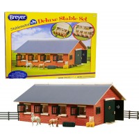 Deluxe Wooden Stable with 2 Stablemates Horses Playset