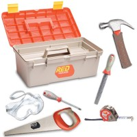 Kids Toolbox and 6 pc Real Tools Toolset