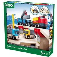 Brio Rail & Road Loading 32 pc Wooden Train Set