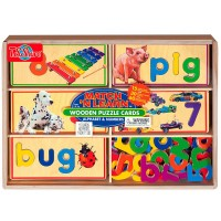 Match 'n Spell Alphabet & Numbers Wooden Puzzle Cards Set