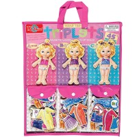 Teeny Tiny Triplets 3 Magnetic Dolls Dress-up Set