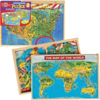 USA Map & World Map 2 Puzzles Set in a Box