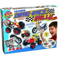 Techno Drag Race Rally 4 in 1 Car Models Building Set