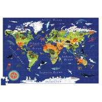World Map 200 pc Jigsaw Puzzle and Poster Set