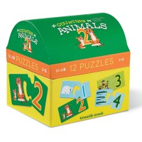Counting Animals 12 Puzzles Set in a Gift Trunk