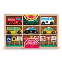 Vehicles and Traffic Signs Wooden Playset