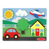 Chunky Puzzle Scene Yellow House Wooden Puzzle
