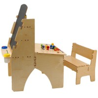 Anatex Art Easel and Kids Desk Combo with Bench
