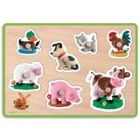 Farm Animals Sound Wooden Peg Puzzle - Fleurus Series