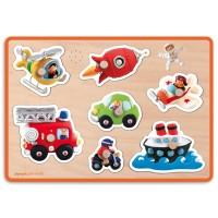 Vehicles Sound Wooden Peg Puzzle  - Vehicles Fleurus