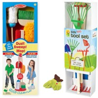 Kids Indoor & Outdoor Cleanup Play Set - House Chores & Garden Tools Kit for 3-6 years