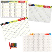 Math Skills 4 Learning Placemats & Wipe-off Crayons Set - Addition, Subtraction, Multiplication, & Division