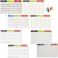 Math & Writing Skills for 5 Years+ 4 Learning Placemats & Wipe-off Crayons Set - Addition, Subtraction, Counting to 100 & Handwriting