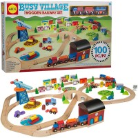 Busy Village Wooden Railway 100 pc Train Play Set