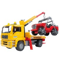 Bruder MAN Tow Truck and Toy Car - 2 Toy Vehicles Play Set
