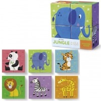 Jungle Animals Mini Puzzle Blocks 4 pc Set
