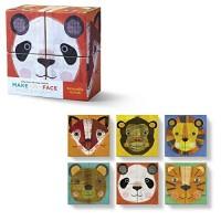 Make a Face Animals Mini Puzzle Blocks 4 pc Set